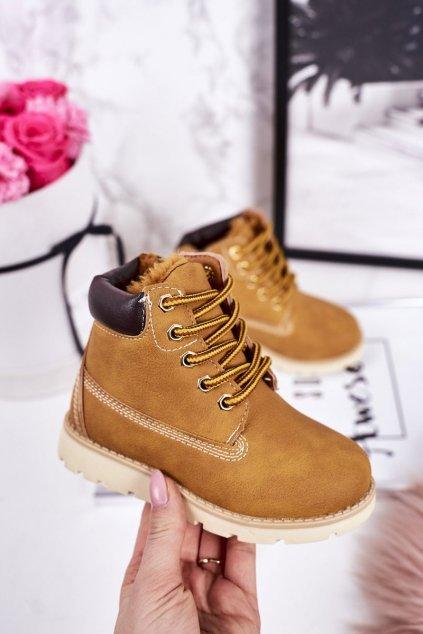 Detské členkové topánky farba hnedá kód obuvi 20310-2B CAMEL