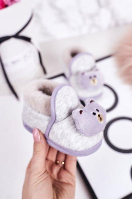 Detské šľapky farba sivá kód obuvi BM5389 GREY