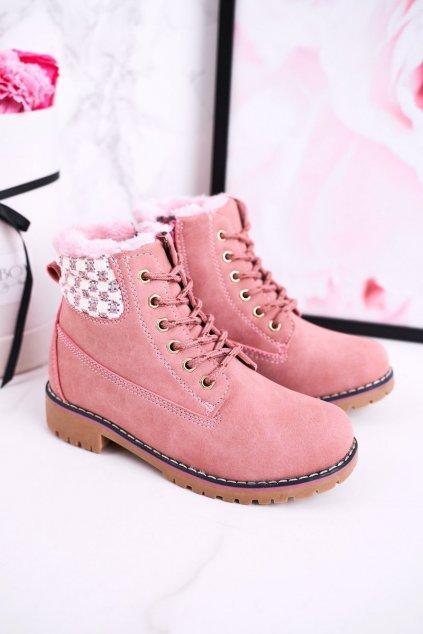 Detské členkové topánky farba ružová kód obuvi HD160 PINK