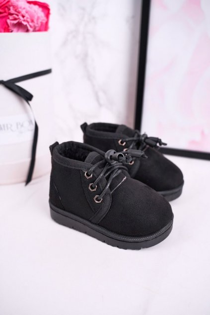 Detské členkové topánky farba čierna kód obuvi 20223-1A/2A/3A BLK