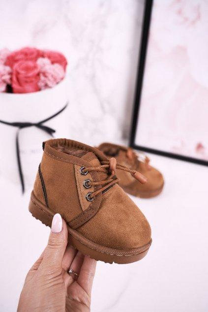 Detské členkové topánky farba hnedá kód obuvi 20223-1B/2B/3B KHAKI