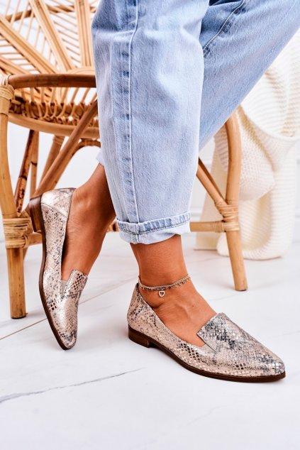 Dámske mokasíny farba žltá kód obuvi 2619/009 GOLD