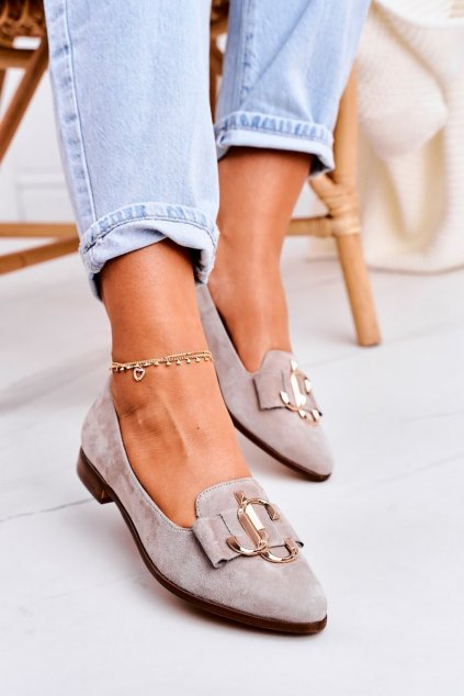 Dámske mokasíny farba hnedá kód obuvi 2588/042 BEIGE