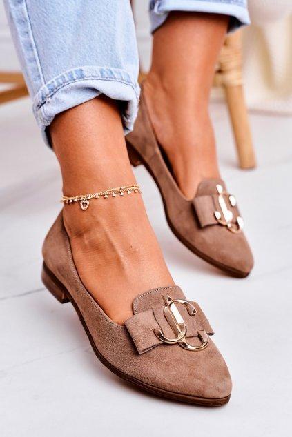 Dámske mokasíny farba hnedá kód obuvi 2588/044 LIGHT BROWN
