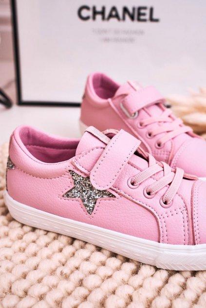 Detské tenisky farba ružová kód obuvi DD374104 PINK