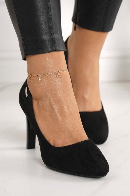 Dámske lodičky farba čierna kód obuvi S9101-1A SUEDE BLK
