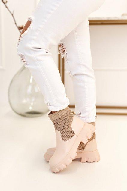 Členkové topánky na podpätku farba hnedá kód obuvi JW122 BEIGE