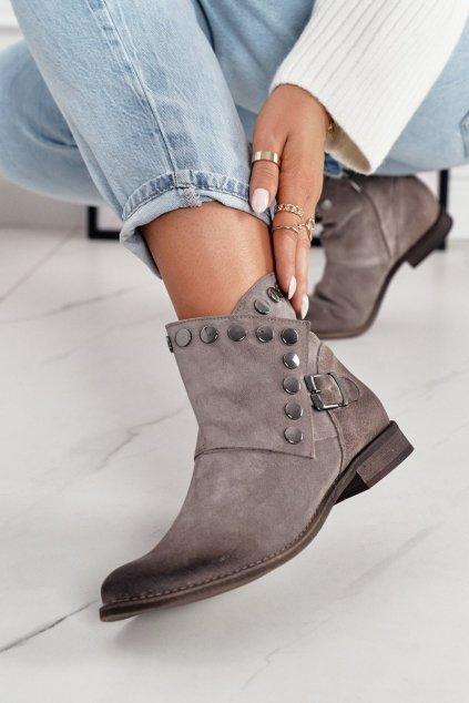 Členkové topánky na podpätku farba hnedá kód obuvi 1198 ALMOND.WELUR