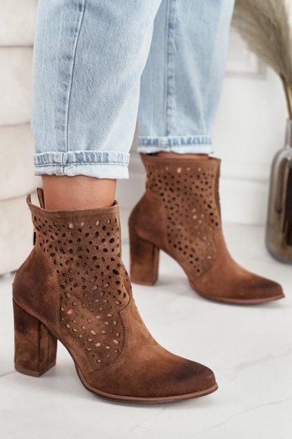 Členkové topánky na podpätku farba hnedá kód obuvi 1219 KONIAK.WELUR