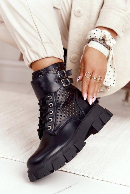 Členkové topánky na podpätku farba čierna kód obuvi 168-302 BLK