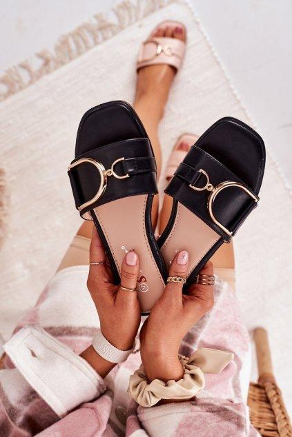 Dámske šľapky farba čierna kód obuvi T396P BLACK