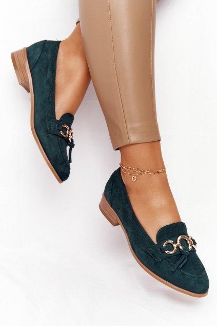 Dámske mokasíny farba zelená kód obuvi 21-10585 GREEN