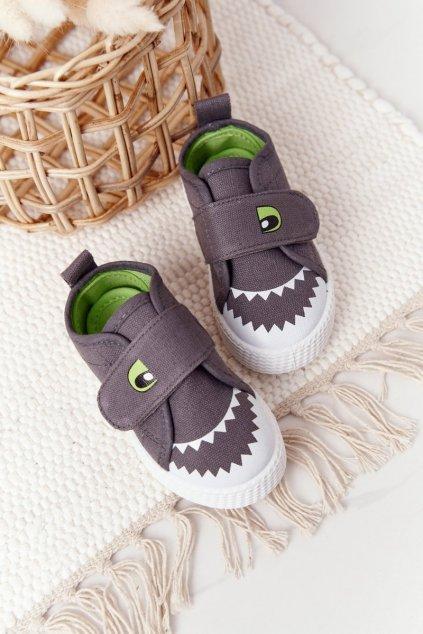 Detské tenisky farba sivá kód obuvi 21DZ26-3923 GREY