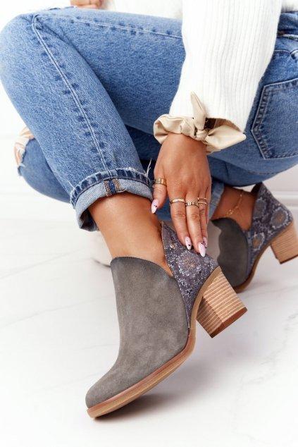 Členkové topánky na podpätku farba modrá kód obuvi 04492-27/00-5 POPIEL GAD
