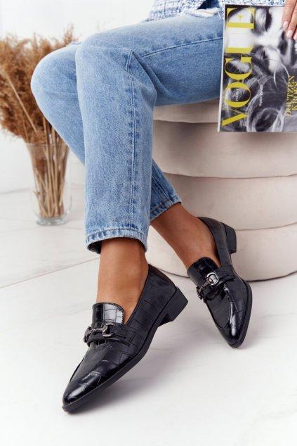 Dámske mokasíny farba čierna kód obuvi 011-3 CROCO BLK