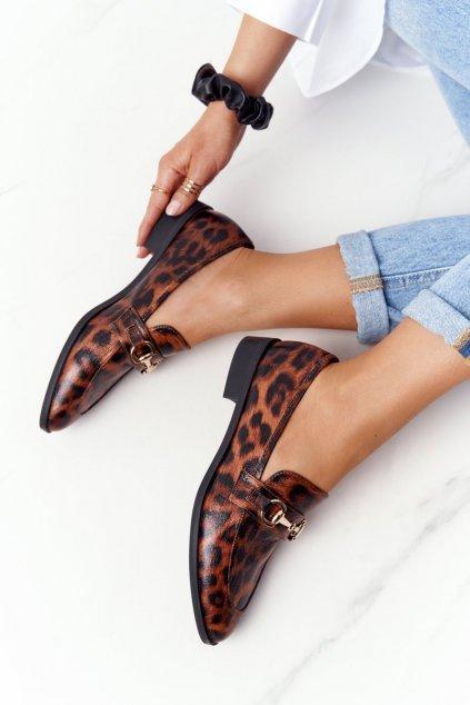 Dámske mokasíny farba hnedá kód obuvi 011-4 LEOPARD