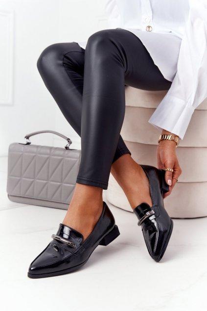 Dámske mokasíny farba čierna kód obuvi A19 BLK LAKIER