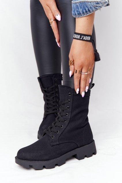 Členkové topánky na podpätku farba čierna kód obuvi 99-117 BLK