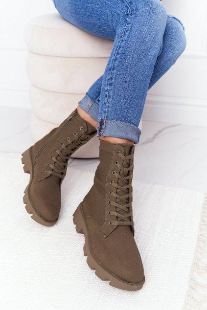 Členkové topánky na podpätku farba zelená kód obuvi 99-117 ARMY GREEN