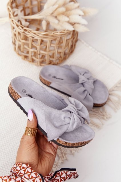 Detské šľapky farba sivá kód obuvi RS-46 GREY