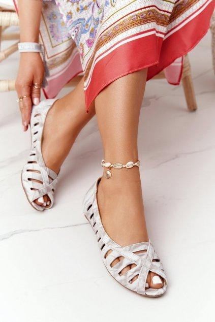Dámske balerínky farba hnedá kód obuvi 04506-04/00-5 BEŻ SZARY