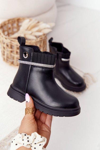 Detské členkové topánky farba čierna kód obuvi NQ71 BLACK