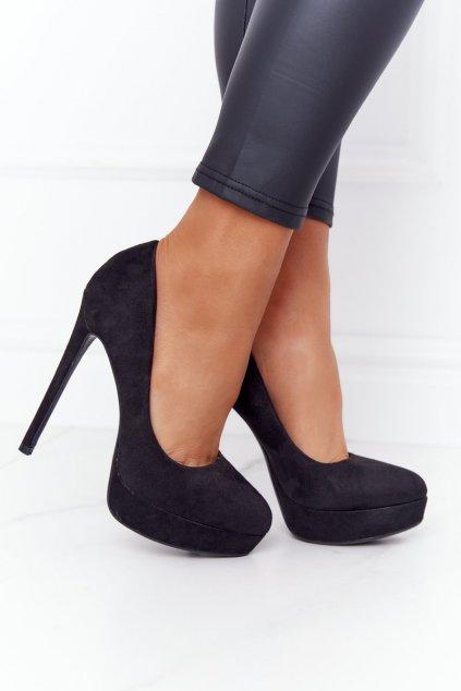Dámske lodičky farba čierna kód obuvi LE068 BLACK
