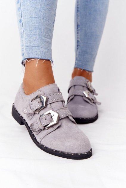 Dámske poltopánky farba čierna kód obuvi XW37311 GREY SUEDE
