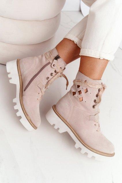Členkové topánky na podpätku farba hnedá kód obuvi 05033-04/00-5 BEŻ