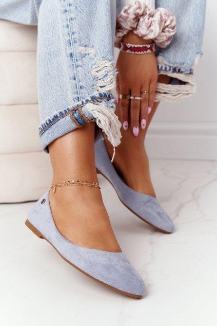 Dámske balerínky farba modrá kód obuvi BL622 BLUE MIC