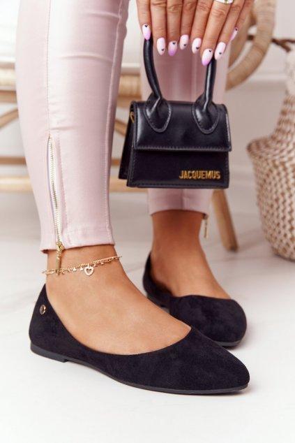 Dámske balerínky farba čierna kód obuvi BL622 BLK MIC