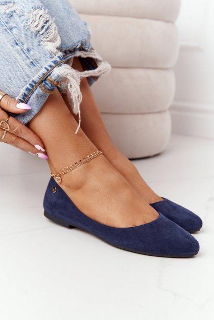 Dámske balerínky farba modrá kód obuvi BL622 NAVY BLUE MIC