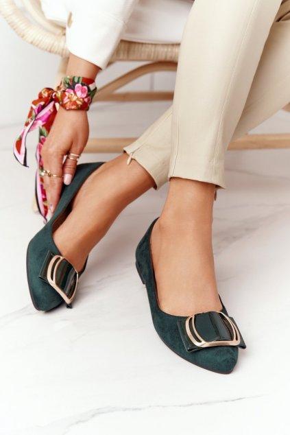Dámske balerínky farba zelená kód obuvi BL623 GREEN MIC