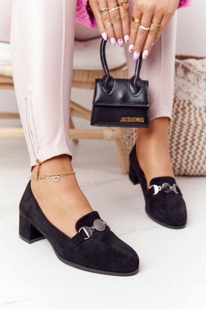 Dámske poltopánky farba čierna kód obuvi PB148 BLACK MIC