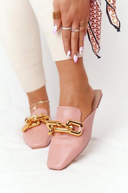 Dámske šľapky farba ružová kód obuvi T500 PINK