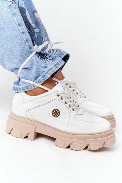 Dámske poltopánky farba biela kód obuvi 3011-0 BIAŁY GROCH