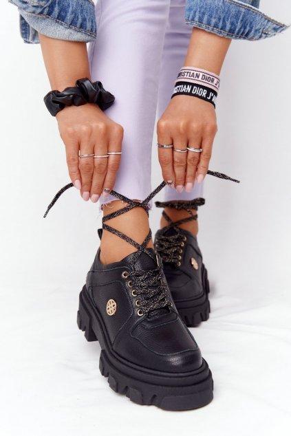 Dámske poltopánky farba čierna kód obuvi 3011-0 CZARNY GROCH