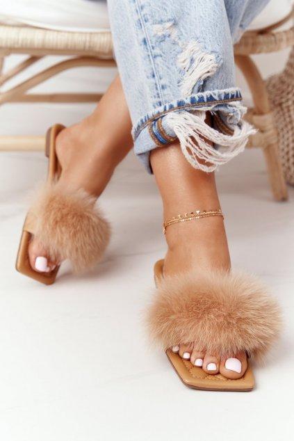 Dámske šľapky farba hnedá kód obuvi 2137 KHAKI