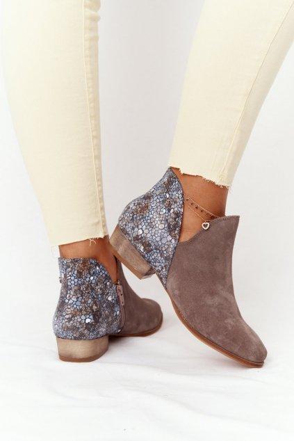 Členkové topánky na podpätku farba hnedá kód obuvi 04091-65/00-5 BEŻ C. MULTIK