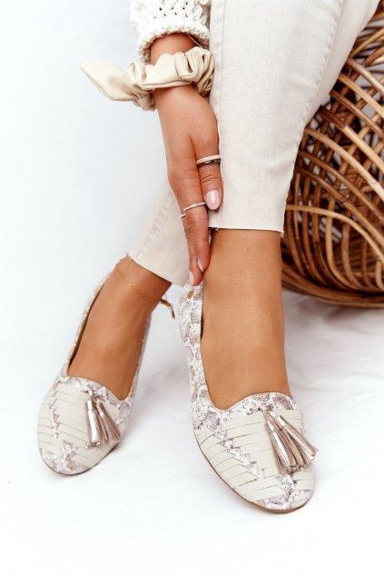 Dámske balerínky farba hnedá kód obuvi 04016-25/00-5 BEŻ,ZŁOTO