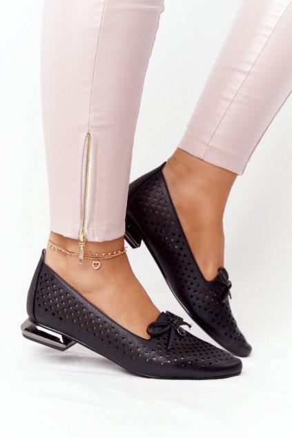 Dámske mokasíny farba čierna kód obuvi 21-10602 BLACK