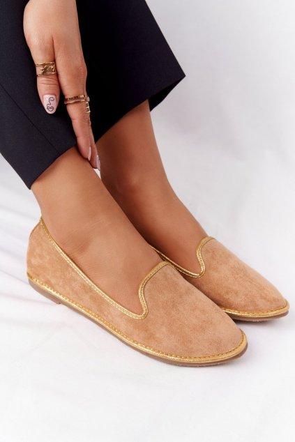 Dámske mokasíny farba hnedá kód obuvi 2018-9 CAMEL/GOLD
