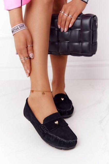 Dámske mokasíny farba čierna kód obuvi 97609 BLK