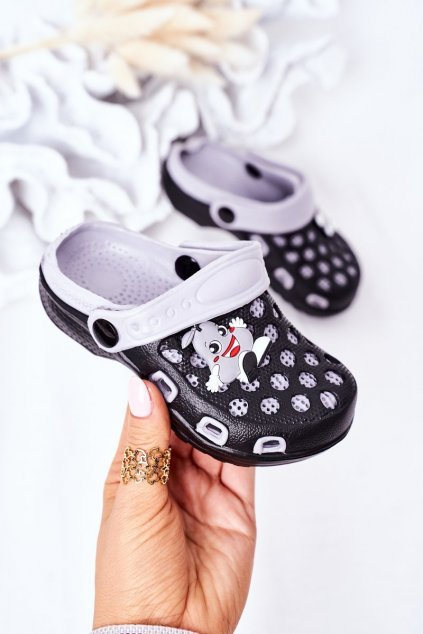 Detské šľapky farba čierna kód obuvi GY1008D-2 BLK/GREY