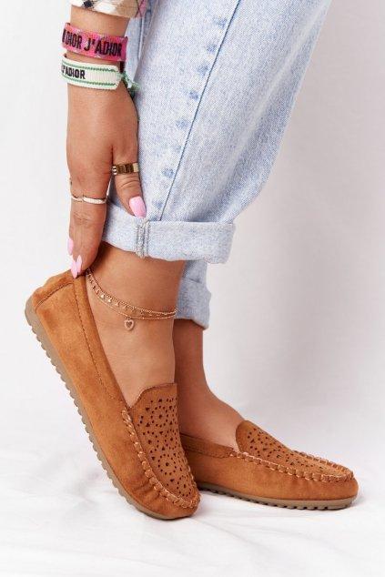 Dámske mokasíny farba hnedá kód obuvi J141 CAMEL
