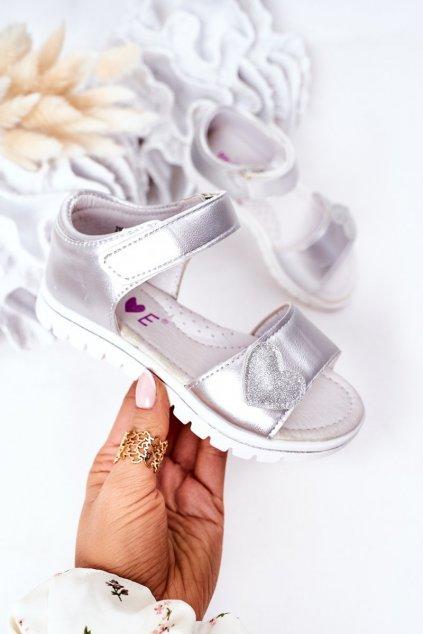Detské sandále farba sivá kód obuvi 21DZ23-3910 SILVER