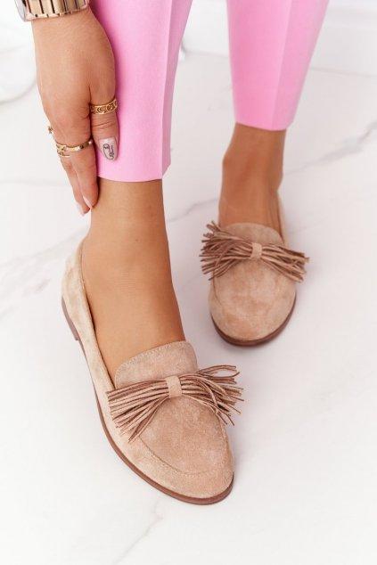 Dámske mokasíny farba hnedá kód obuvi 21PB35-3530 BEIGE