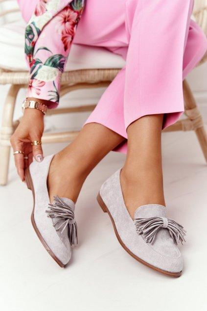 Dámske mokasíny farba sivá kód obuvi 21PB35-3530 GREY