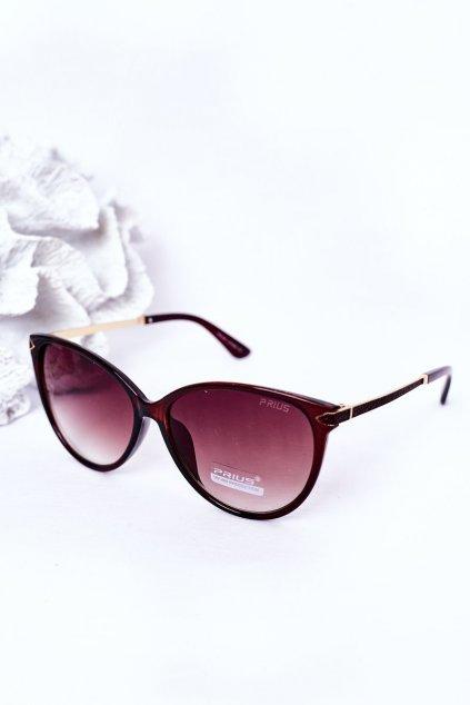 Módne slnečné okuliare hnedé PRIUS Eyewear PRIUS006 BROWN
