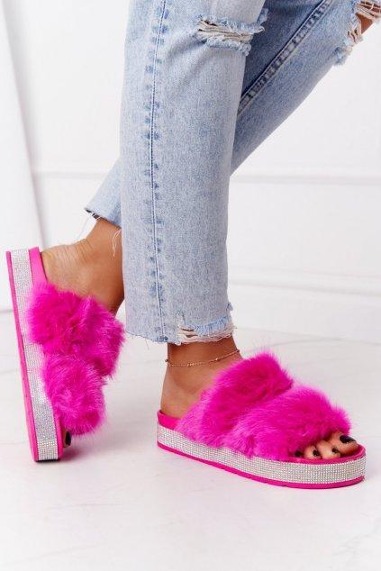 Dámske šľapky farba ružová kód obuvi CK188 FUCHSIA